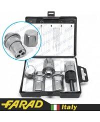 Секретки на колеса Гайки секретки Farad Stil Bull М12х1.5х44 Прессшайба Вращающееся кольцо Ключ 21 (+стальные колпачки)