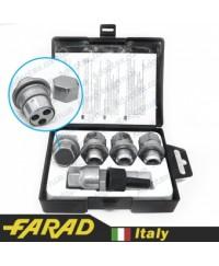 Секретки на колеса Гайки секретки Farad Stil Bull М12х1.5х36мм Прессшайба Вращающееся кольцо (Citroen, Lexus, Mitsubishi, Peugeot, Toyota) ключ 21 + стальные колпачки