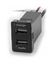 Зарядные устройства Разъем USB в штатную заглушку Carav 17-104 Toyota/Lexus / 2 порта: аудио + зарядное устройство