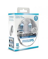 Галогенные лампы Лампа галогенная Philips H4 WhiteVision +60%, 4300K, 2шт/блистер 12342WHVSM
