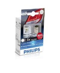 LED-габариты Лампа светодиодная Philips P21W RED 12/24V, 2шт/блистер 12898RX2