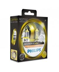 Галогенные лампы Лампа галогенная Philips H7 ColorVision Yellow, 3350K, 2шт/блистер 12972CVPYS2