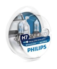 Галогенные лампы Лампа галогенная Philips H7 WhiteVISION +60% 3700К 2шт/блистер 12972WHVSM
